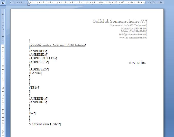 Serienbriefe Mit Word Wordexport Pccaddie